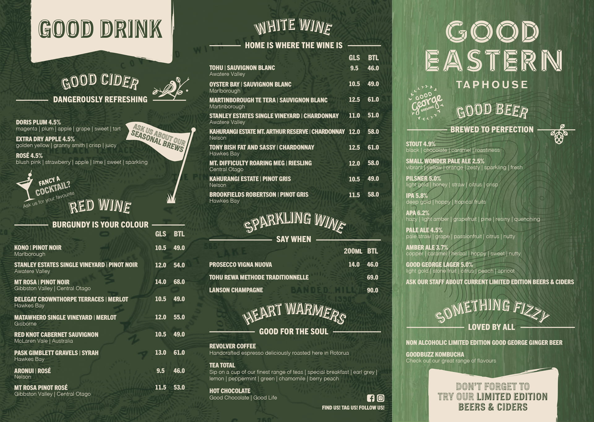 Good Eastern Taphouse NEW Menu 2020 page 1